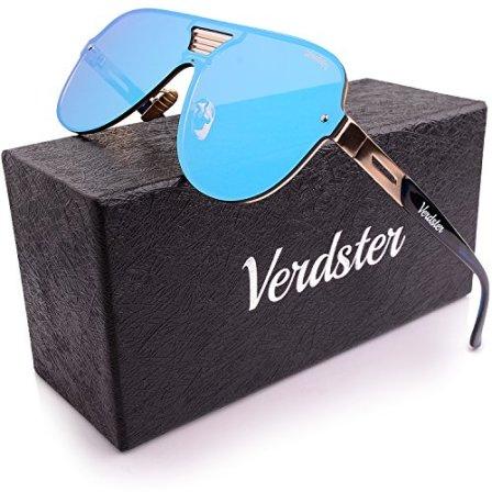 Verdster-Gafas-De-Sol-De-Aviador-TourDePro-Unisex--Aptos-para-Conducir--Montura-Cmoda-con-Proteccin-UV--Incluye-un-estuche-funda-y-un-pauelo-AdultosGrandes-AzulOro