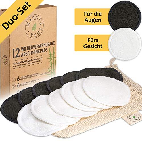 Marni&Luna® Waschbare Abschminkpads   12 Nachhaltige Abschminktücher aus Bambus & Baumwolle   Große Aktivkohle Pads   Wattepads wiederverwendbar   Umweltfreundliche Gesichtsreinigung   Zero Waste