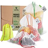 Ace Nifty Reusable Produce Bags from Recycled Bottles - Washable Zero Waste Fruit Vegetable Grocery Mesh Shopping Bag or Toy Storage | Reuseable Ecological and Portable Veg Bag - 6 Eco Bags, 2x S/M/XL
