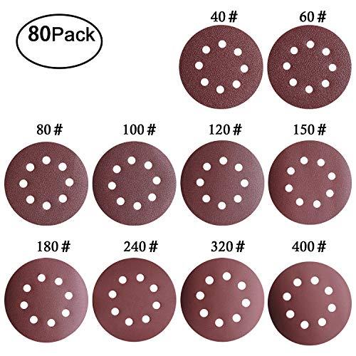 Discos de Lija Lijas de Pulir Velcro Discos de Papel 8 Agujeros Hojas de Lija ø 125 mm/5 Pulgadas Redonda Papel de Lija- 80 Piezas Grano 10x40/60/80/100/120/180/240/320/400 para Lijadoras Excéntricas