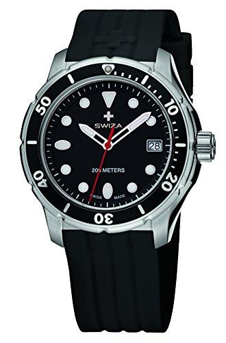 Swiza Tetis Analog Display Swiss Quartz Black Watch Men|Strap: Genuine Leather| Warranty: 3 Years