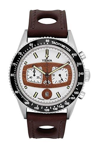 Orologio uomo–Yema–rallygraf–Bracciale Pelle Marrone...