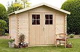 Alpholz Gerätehaus MONS aus Fichten-Holz | Gartenhaus inkl. Dachpappe | Geräteschuppen naturbelassen ohne Farbbehandlung (300 x 270cm)
