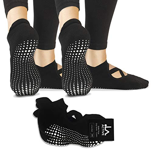 LA Active Calze Presa Antiscivolo Cotone - Per Yoga Pilates Danza Ballet Sbarra - Pointe (Noire Black e Noire Black)