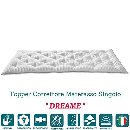 Evergreenweb - Correttore Materasso in Memory Foam MED Singolo 80x190 Alto 7 cm, Topper Letto,...