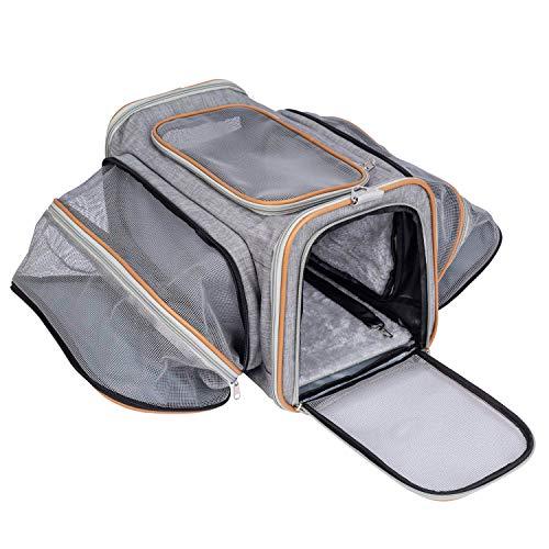 Pet-U Transportin Gato Transportin Perro Peque帽o y Cachorros Aprobado por Las Aerol铆neas Plegable Extensible, 44.5 x 38 x 28 cm (GRIS)