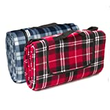 Signature Leisure Red Tartan or Blue/White Tartan Check Large 150x180cm Fleece Picnic Blanket with Waterproof Backing - Lightweight Compact Picnic Travel Rug - Child Play Mat (Red)