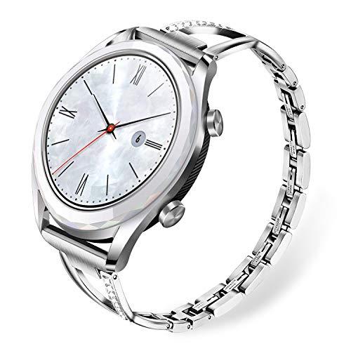 TRUMiRR Compatibile con Huawei Watch GT Elegant Cinturino, 22mm Cinturino in Strass con Diamanti Cinturino in Acciaio Inossidabile per Huawei Watch GT/Huawei Watch GT Active