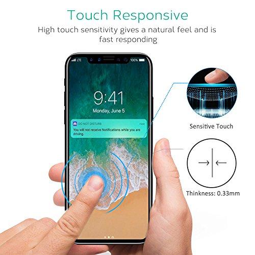 Bovon Pellicola Vetro Temperato per iPhone X/Xs, Pellicola Protettiva HD Trasparente Proteggi Schermo, Anti-riflesso, Anti-graffio per iPhone X/Xs 5.8 pellici, 2 Pezzi
