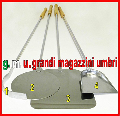GMU GRANDI MAGAZZINI UMBRI Kit Pale per Pizza Forno A Legna Set Pale per Pizza 4 PZ Set Pala PIZZE...