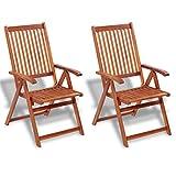 Festnight Gartenstuhl 2 Stücke Klappstuhl Akazienholz Gartensessel Holzstuhl 57x69x111cm Gartenmöbel mit 5 Positionen