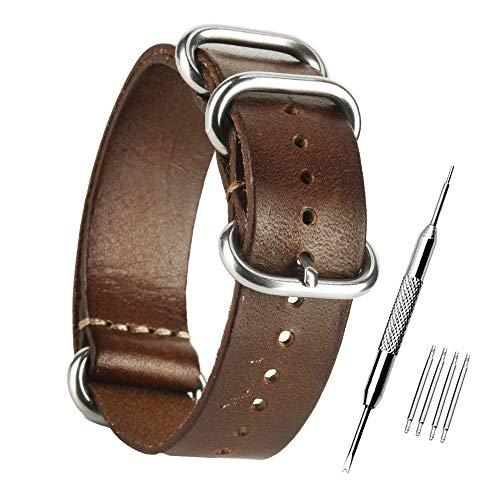 ZHUGE Unisex Cinturino cinturino in pelle vintage Cinturini di Ricambio Cinturino in pelle 20MM abbronzatura