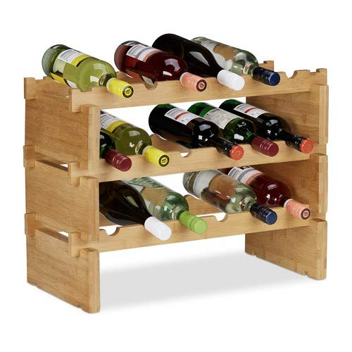 Relaxdays Scaffale Porta, Rastrelliera per Bottiglie di Vino, Cantinetta Portabottiglie, bambù,...