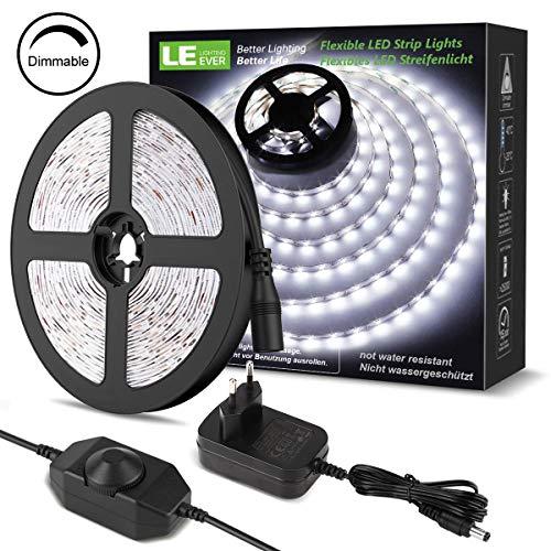 LE Striscia LED 5M 300LED SMD2835 Dimmerabile, 18W 1200lm Luce Nastro Luminoso Bianco Freddo 6000K...