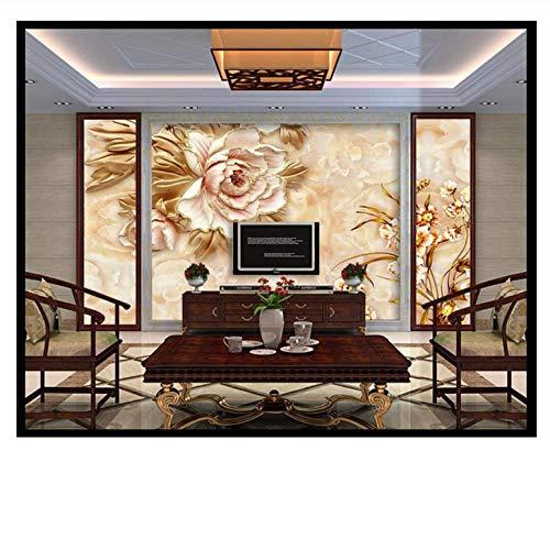 Lovemq Carta Da Parati Peonia Rilievo Sfondo Muro Marmo Floreale Murale Jade Texture Tv Divano Sfondo Murale Carta Da Parati 3D-150X100Cm