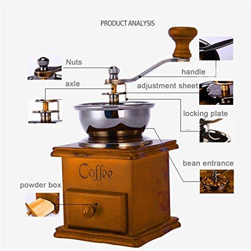 Hemore Molinillo de café, Molinillo para café, Molinillo de Abejas, Aspecto Antiguo, Base de Madera, Accesorios para el hogar