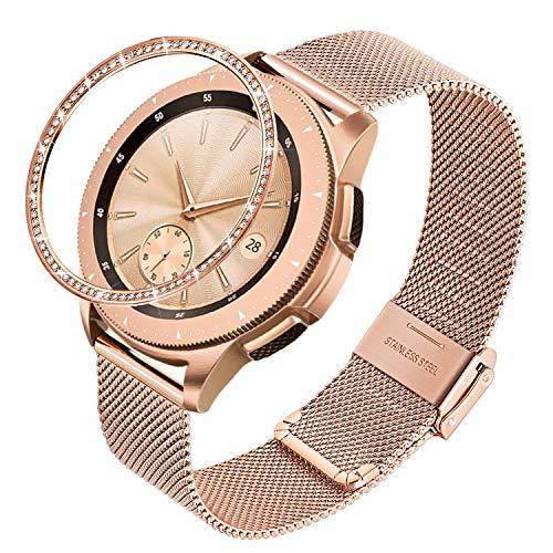 TRUMiRR Sostituzione per Galaxy Watch 42mm Oro Rosa Cinturino + Anello a castone, 20mm Cinturino in Acciaio Inossidabile Intrecciato a Maglia Cinturino a sgancio rapido per Samsung Galaxy Watch 42mm