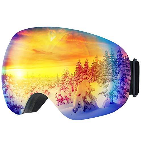 TOPELEK Occhiali da Sci Adulti,Maschere da Sci Snowboard,Super-grandangolo e Sferica Lente,Neve...