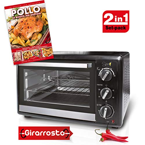 SPICE Set Habanero 40 litri Forno Fornetto elettrico ventilato doppio vetro con Girarrosto 1500 W +...