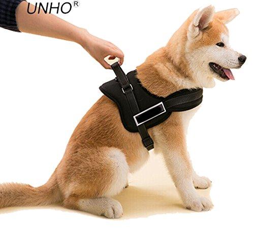 UNHO Arnés de Perro Cómodo Sin cinturón Collar Chaleco para Mascotas en el Pecho Material Duradero Transpirable Fácil de Andar Busto 70-90cm Tamaño L Cloro Negro