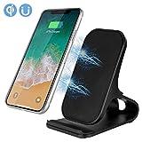 PowerLead Drahtloses Ladegerät, Fast Wireless Ladegerät Pad Stand für Samsung Galaxy Note 8 S8 S8 Plus S7 Edge S7 S6 Edge Plus Note 5, Standard-Lade für iPhone X 8 8 Plus (ohne Netzteil) (Schwarz)