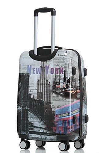 Polycarbonat Hartschale Koffer 2060 Trolley Reisekoffer Reisekofferset Beutycase 3er oder 4er Set in 12 Motiven (NewYork) - 3