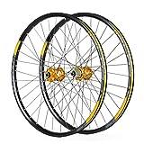 LSRRYD Doppio Muro Ruote Bici per 26 27,5 29 Pollici Cerchio MTB Freno a Disco Rilascio rapido Ruote per Mountain Bike 24H 8 9 10 11 velocità (Color : Gold, Size : 27.5inch)