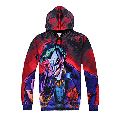 YUANOU Nochebuena Oscuro Caballero Joker Póker De Dibujos Animados Animado Payaso 3D Wei Pantalones Sudadera con Capucha Hombres Y Mujeres Par