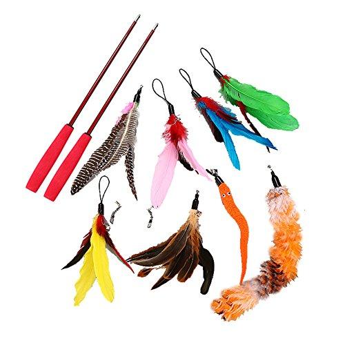 Yunt, canna da pesca per giocare, per gatti, con piume e teste di ricambio, per far giocare e saltare il tuo gatto