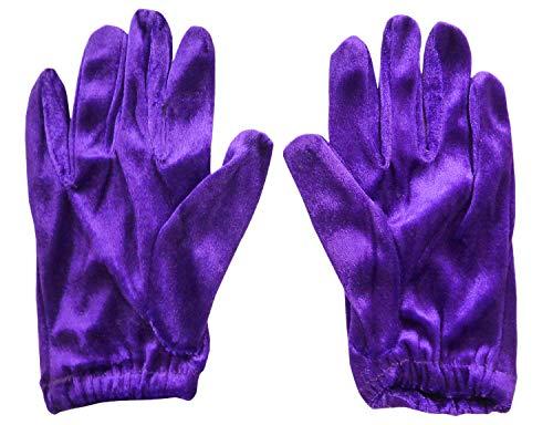 Signore velluto sento brevi guanti viola Halloween-Costume-ball (HW175)