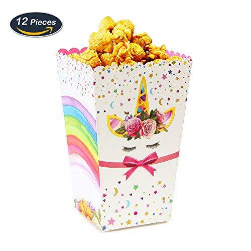 AMZTM Unicorno Trattare Scatole - Scatole di Popcorn Arcobaleno Magico Baby Shower Compleanno Bambino Forniture Bomboniere Snack Candy Contenitori di Carta Confezione da 12 (Arcobaleno)