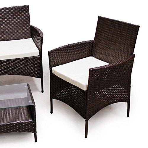 POLY RATTAN Lounge Gartenset Dunkelbraun Sofa Garnitur Polyrattan Gartenmöbel -