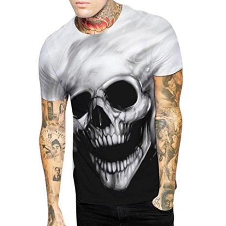 83923568d2 Amlaiworld Camisetas Hombre de Cráneo de impresión Manga Corta Verano Moda  Blusa ...