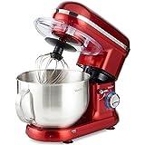 VonShef 800-1260W Küchenmaschine Rührmaschine Knetmaschine - Geräuscharm und 3,5L Rührschüssel mit Spritzschutz - Inklusive Quirl, Knethaken & Schneebesen (Rot)