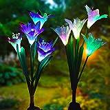 Solarleuchte Garten, Lvyleaf 2 Packung Solar Garten Lampen Lilie Blumen Solarlicht mit Farbwechsel...