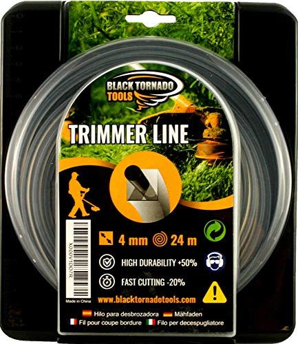 Black Tornado Tools Hilo para desbrozadora - Doble - Cuadrado - 4mm - 24m - Calidad Ultra Professional - 2 Hilos en 1 - Embalaje Premium (4,0 mm x 24 m)