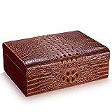 Zigarren-Humidore Zigarren-Zubehör Zigarre Box Krokodil Haut Muster Vier Bereiche Lagerung großer Kapazität Zedernholz (Color : Brown, Size : 35 * 26 * 13.5cm)