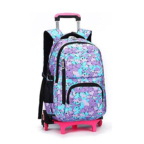 Bupin Zaino rotolante, Scuola borsa,Sei ruote Trolley borsa per bambini e scolari Con ruote (A5)