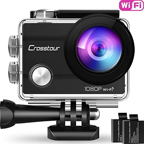 Crosstour Action Kamera Wifi Cam 1080P Full HD Crosstour 2' LCD Sports Cam 170°Weitwinkel Helmkamera Unterwasserkamera mit 2 Batterien 1050mAh und Zubehör Kits