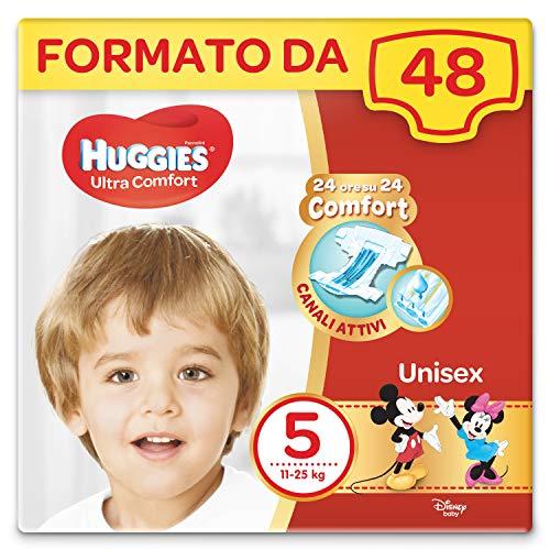 Huggies Pannolini Ultra Comfort, Taglia 5 (11-25 kg), Confezione da 48 Pannolini