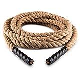 Capital Sports Power Rope Sportseil Tau-Seil Battle-Rope CrossTraining Schwungtau 15 m / 12m oder 9m für Sprung-Training Kletterübungen Tauziehen (3,8 cm Ø, dreischlägiges Seil, Hanf) beige
