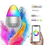 Koogeek Ampoule LED wifi E27  Intelligente Compatible Alexa Apple Homekit Google Assistant Siri control 8W 500LM Dimmable Lumière 16 millions de couleurs Télécommande pour IOS Android