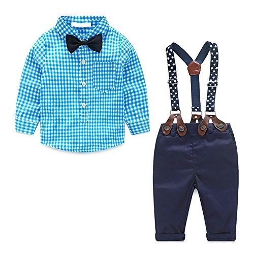 MissChild Baby Junge Bekleidungsset Formal Gentleman Plaid Shirt + Hose mit Hosenträger Ausstattung Blau Label 90