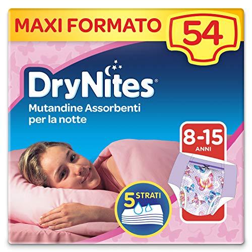 Drynites Mutandine Assorbenti per la Notte da Bambina, 27-57 Kg, 6 Confezioni da 9 Pezzi