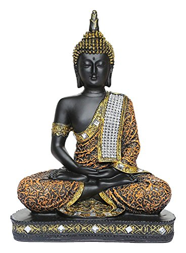 Fashion Bizz Rasin Art Vastu Fangshui Religious Meditating Sitting Lord Buddha Idol Statue Showpiece (Black and Copper, 8 x 18.5 x 24 cm)