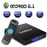 Android TV Box 8.1, Leelbox 2019 Newest Q4 MAX 4GB RAM+64GB ROM Smart TV Box RK3328 Quad-Core 64 Bits Support BT 4.1 2.4GHz Wifi 4K Full HD 3D H.265 with Wireless Remote Control