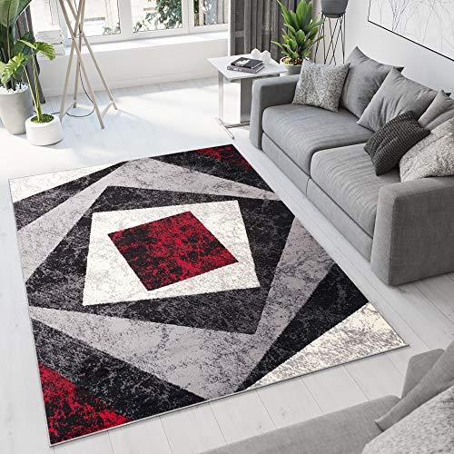 TAPISO Dream Tappeto Soggiorno Salotto Moderno Grigio Rosso Geometrico Quadrato A Pelo Corto 250 x...