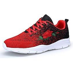 KOUDYEN Zapatos Zapatillas Running para Mujer Sneakers Fitness,XZ746-W-redblack-EU37