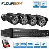 FLOUREON Système de Vidéosurveillance 8CH H.264 DVR 1080N ONVIF + 4pcs 1080P Caméra de Sécurité 2.0MP 3000TVL Accès à Distance Via Smartphone/PC Disque Dur de 1TB