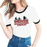 Yuanu Donna Confortevole Traspirante Manica Corta Girocollo Slim T-Shirt Lovers Grandi Dimensioni Casual Magliette con Tema Stampa A Proposito di Stranger Things Stampa Stile 11 S
